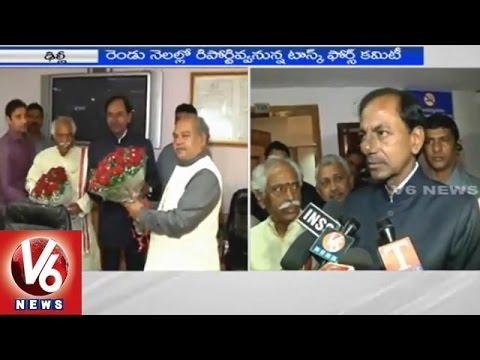 V6 : KCR meets union minister Narendra Singh Tomar,speaks to media
