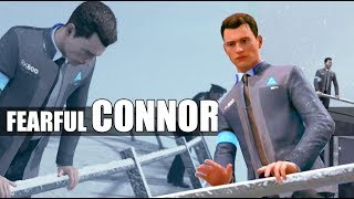 Detroit Become Human - Connor Shows Fear After Looking Over the Edge (Stratford Tower Rooftop)