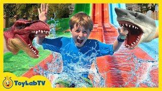Dinosaur vs Shark Toys & Water Park Fun! Kids Outdoor Activities & Jurassic Park Surprise Dinosaurs