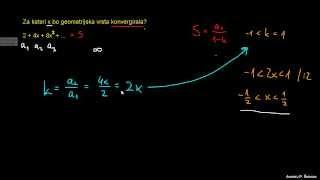 Za kateri x vrsta konvergira 1