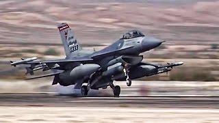 F-16 Fighter Jets Preflight + Takeoff/Landing At Nellis AFB