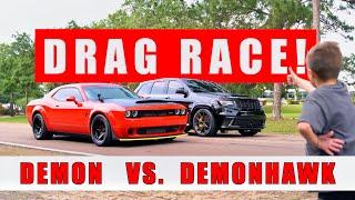 Dodge Demon vs Trackhawk! *Logan Gets Old Man Cut!*