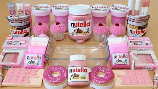 """Mixing""""Pink Nutella"""" Eyeshadow and Makeup,parts,glitter Into Slime!Satisfying Slime Video!★ASMR★"""
