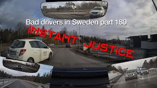 Bad Drivers in Sweden #180 Instant karma for queue cheater and overtaking techniques.