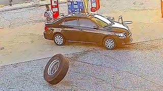 Random Tire Crashes Into Car