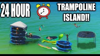24 HOUR TRAMPOLINE FORT IN THE OCEAN!! Round 2! (COPS CALLED 5 TIMES)