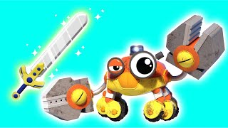 AnimaCars - The BUILDER CRAB discovers EXCALIBUR - cartoons for kids with trucks & animals