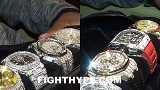 FLOYD MAYWEATHER FLOSSES MILLION DOLLAR WATCHES; INSANE COLLECTION OF ONE-OF-A-KIND TIMEPIECES