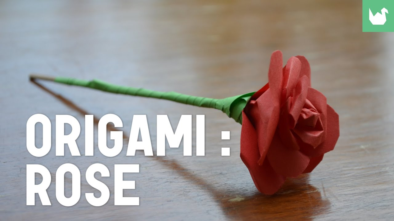 origami faire une rose en papier hd youtube. Black Bedroom Furniture Sets. Home Design Ideas