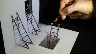 How to Draw Ladders -  Drawing 3D Ladders - Optical Illusion on Paper - VamosART