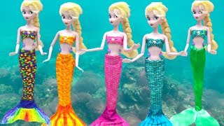 Little Mermaid Makeup Frozen Elsa Mermaid Tail & Costumes Color Change Disney Princess DOLL Cosplay