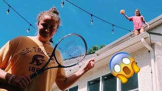 Throwing Water Balloons off the ROOF (ft. Madi OB O'Brien)