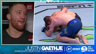 """""""You made your dad proud"""" Justin Gaethje reveals what he said to Khabib while crying on the floor ♥️"""