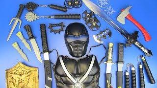 Toy NINJA Weapons Toys for Kids ! Ninja Guns & equipment- Shuriken,Nunchucks,Swords..Box of Toys