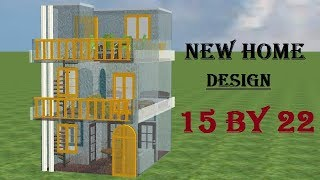 15 By 22 new 3d home design, 15*22 house plan,15*22 small home design