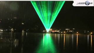 Laser show demonstration over a lake somewhere in Bavaria | Laserworld