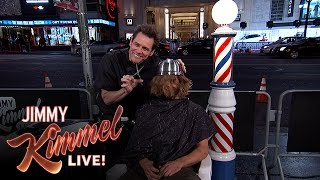 Jim Carrey Gives People Bowl Cuts on Hollywood Blvd.