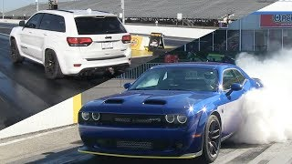Drag Race - Hellcat Redeye and Jeep Grand Cherokee Trackhawk vs Dodge Demon