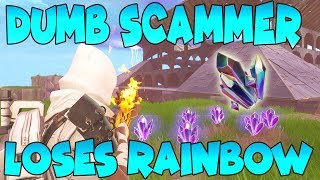 Dumb Scammer Loses 10 Rainbow Crystal (Scammer Gets Scammed) Fortnite Save The World