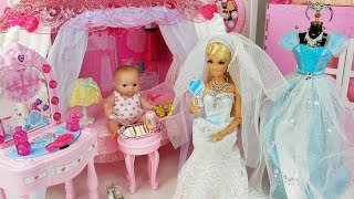 Barbie Wedding Dress bedroom and Baby doll house toys Wedding dress shopping play - 토이몽