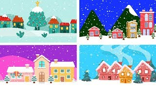 Snowing Christmas Towns   Happy Holidays!   Cute Animation