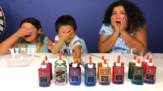 3 COLORS OF GLUE SLIME CHALLENGE WITH OUR BABY BROTHER