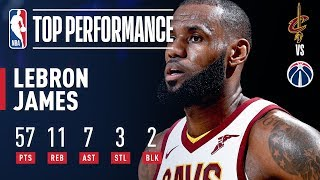 LeBron James Explodes For 57 POINTS in Win vs. Wizards | November 3, 2017
