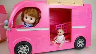 Baby doll bus car toys baby Doli camping play - YouTube