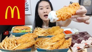 MCDONALD'S CRUNCHY Fish & Fries! Molten Chocolate Pies, Sweet Chilli Fish Burger Eating Show Mukbang