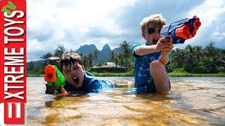 Nerf Battle With Jungle Creatures! Sneak Attack Squad Mayhem in Hawaii!