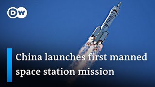 First astronauts en route for China's Tiangong space station   DW News