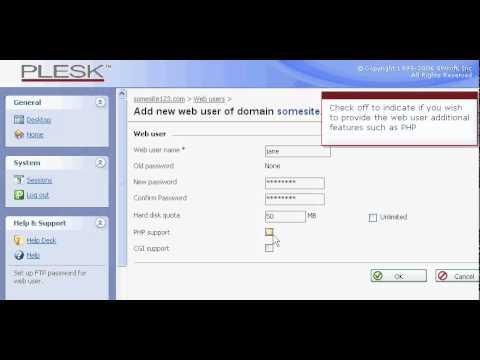 Een webuser aanmaken - Plesk 8