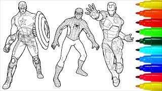 Spiderman Captain America Iron Man Coloring Pages   Colouring Pages For Kids With Colored Markers