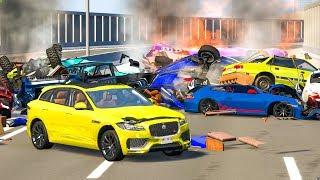 MASSIVE PILE UP SPIKE STRIP CRASHES #3 - BeamNG Drive   CRASHdriven