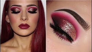 Dark Cranberry Smokey Eye w/ Glitter & Glossy Lips | Makeup Tutorial