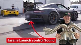 INSANE $8000 TITANIUM RACE EXHAUST LAUNCH CONTROL SOUND! *Porsche GT3RS*