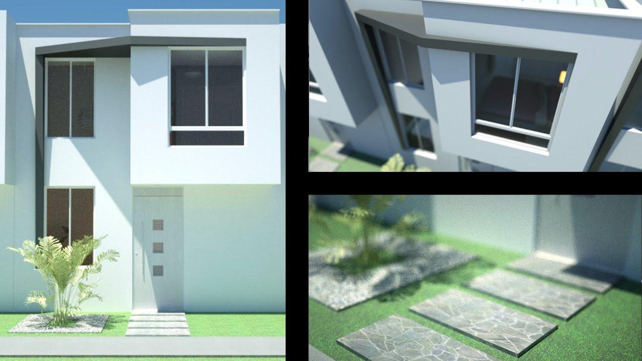 Planos casa moderna de 2 pisos m x m m for Casa moderna 80m2