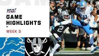 Lions vs. Raiders Week 9 Highlights | NFL 2019