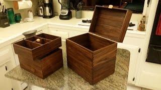 Secret Locking Compartment Walnut Man Box/ Jewelry Box