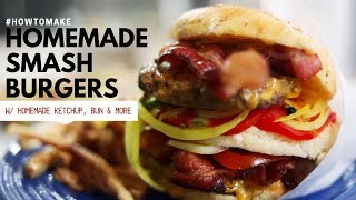 HOW TO MAKE SMASHBURGERS!! (WITH HOMEMADE BUN, PICKLES, KETCHUP) FT. MADE IN COOKWARE