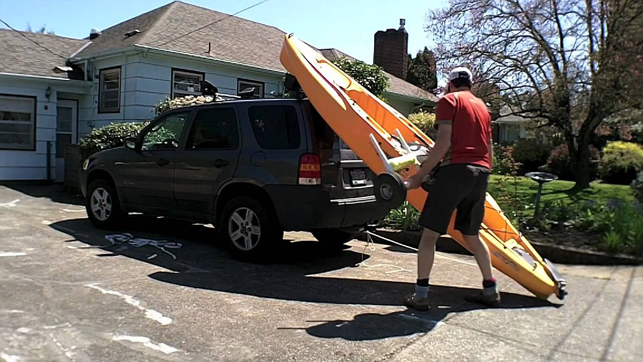 How To Load A Hobie Outback Kayak On A Ford Escape Youtube
