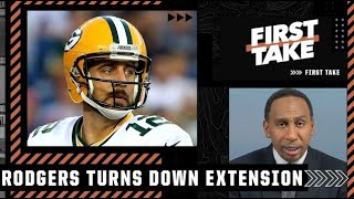 Stephen A. reacts to Aaron Rodgers turning down a 2-year extension with the Packers   First Take
