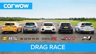 i30N vs Type-R vs Megane RS vs Cupra R vs 308 GTi - DRAG RACE, ROLLING RACE, BRAKE TEST & REVIEW!