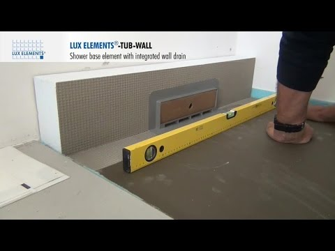 LUX ELEMENTS Installation: Hard foam shower drain element TUB-WALL with integrated wall drain