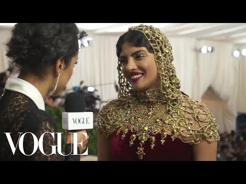 Priyanka Chopra on Her Intricate Beaded Headpiece | Met Gala 2018 With Liza Koshy | Vogue