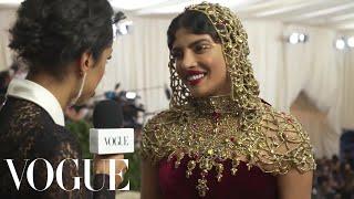 Priyanka Chopra on Her Intricate Beaded Headpiece | Met Gala 2018 With Liza Koshy | Vogue