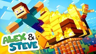 🔥 HOUSE FIRE   The Minecraft Life of Alex & Steve   Minecraft Animation