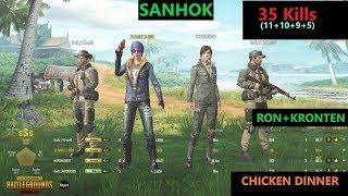 "[Hindi] PUBG Mobile   RON&KRONTEN In Sanhok Map ""35 Kills"" In squad"
