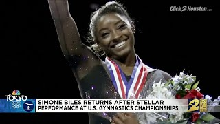 Biles returns to Houston after stellar performance