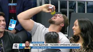 Packers' OL David Bakhtiari on Chugging Beer vs Rodgers at Bucks' Game | The Rich Eisen Show